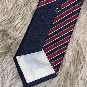 Dior Men's Blue and Red Necktie